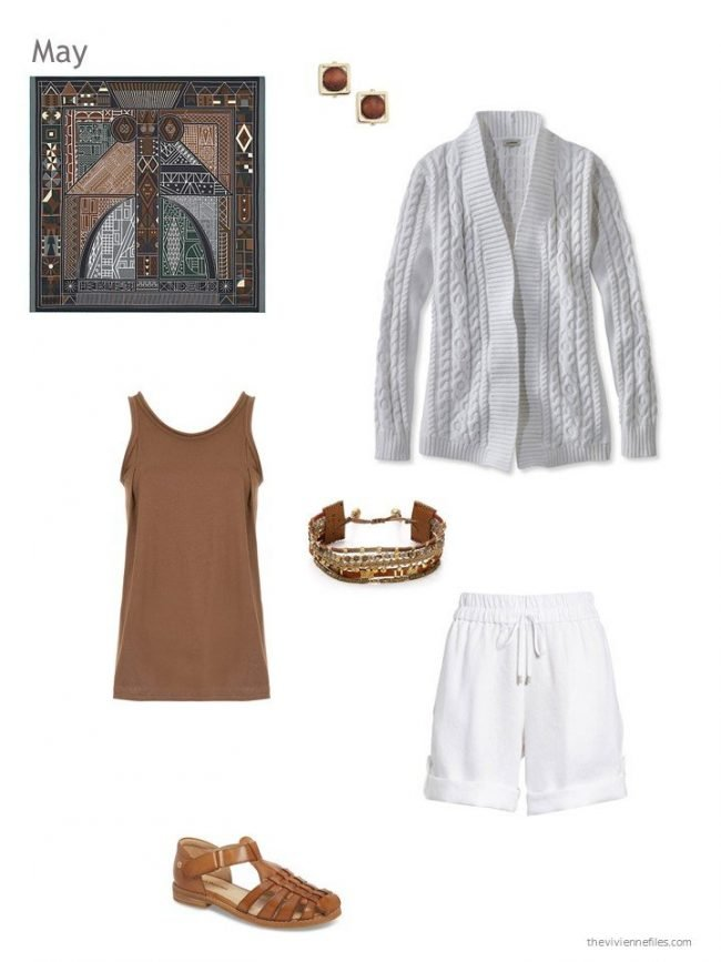 Spring and summer outfit in white and brown