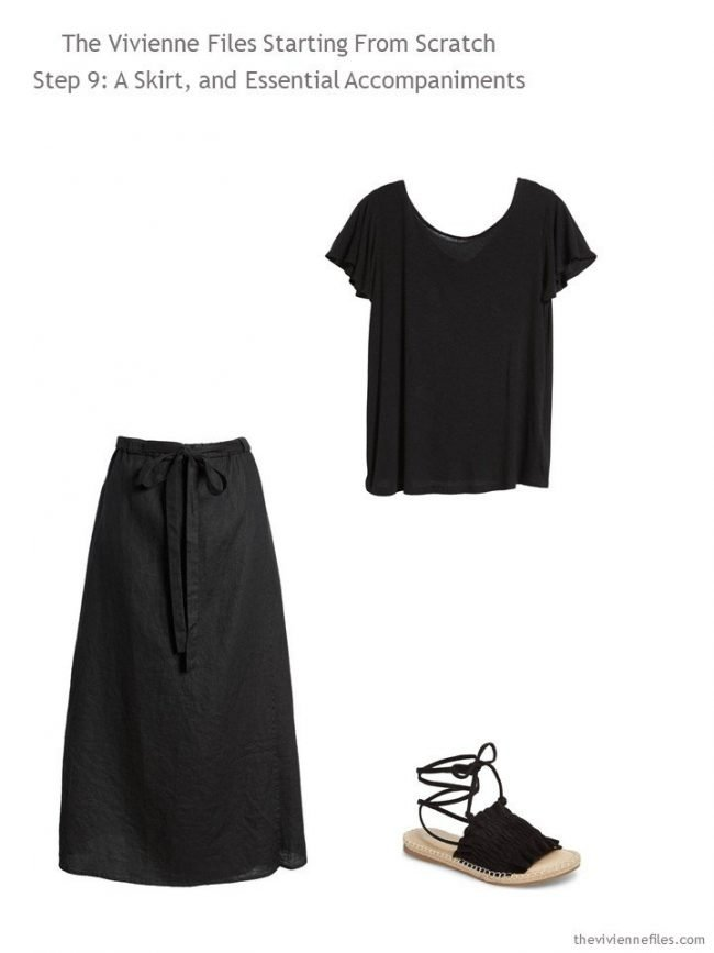 adding a skirt, top and sandals to a Step by Step Wardrobe