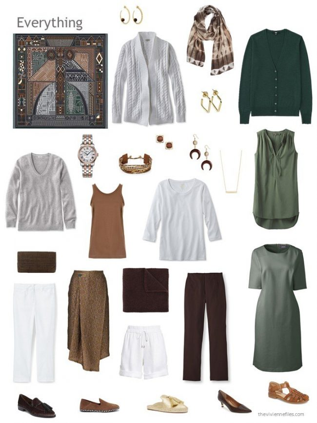 capsule wardrobe in grey, green, brown and white