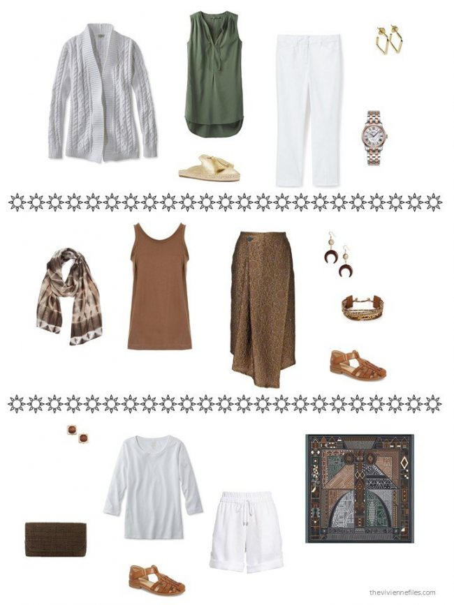 3 outfits from a capsule wardrobe in brown, green, grey and white