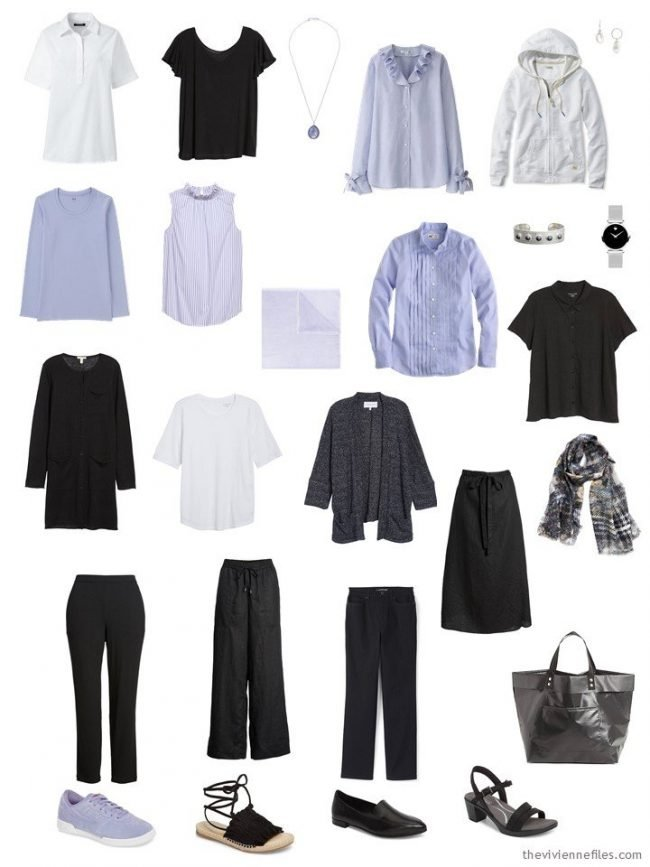 A Travel Capsule Wardrobe in black, white and lavender