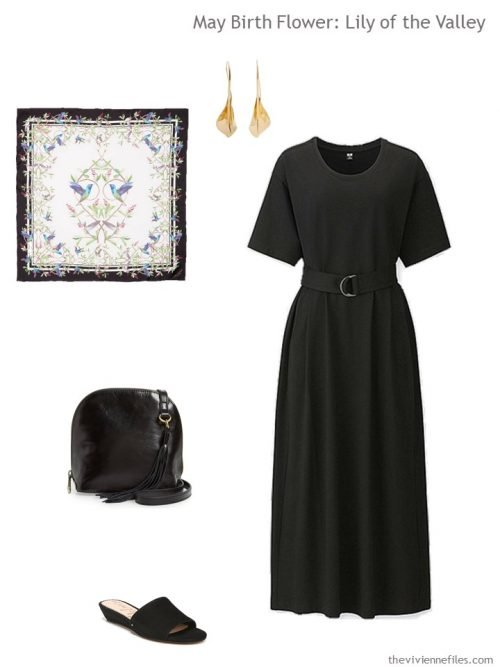 black dress with floral accessories