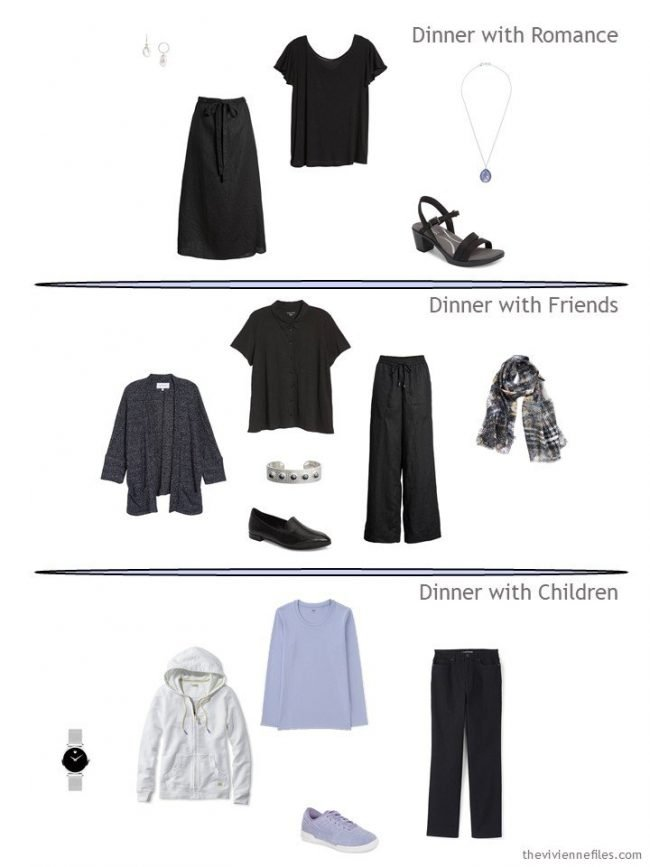 three dinner outfits from a 15-piece Travel Capsule Wardrobe