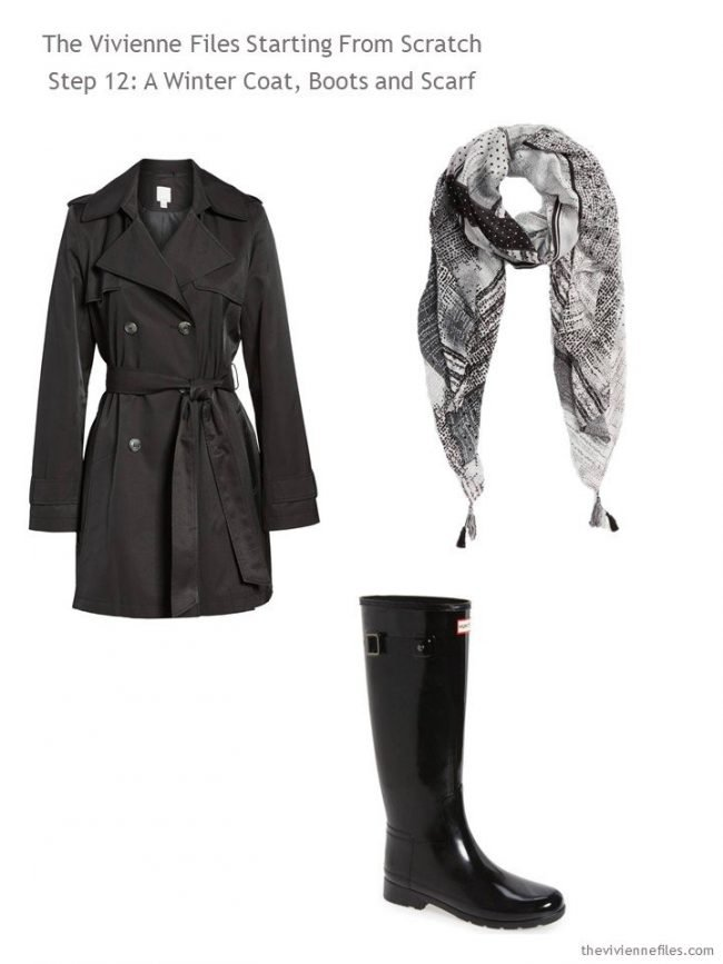 Adding a rain jacket, rubber boots and a scarf to a Step by Step Wardrobe