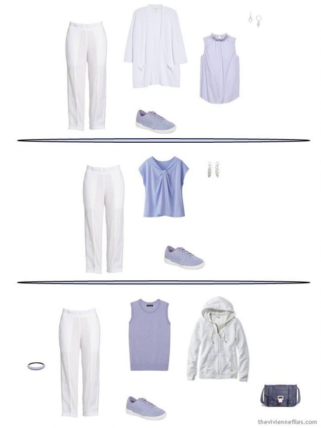 3 outfits with white linen pants from a capsule wardrobe