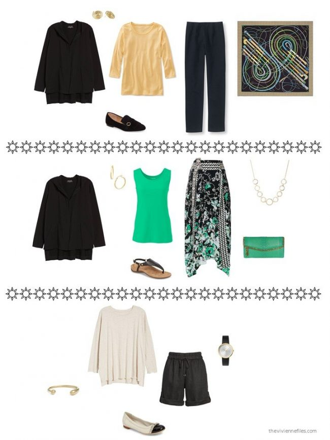 3 outfits from a black and green capsule wardrobe