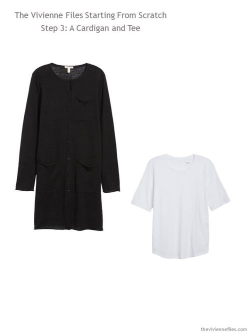 black cardigan and white tee additions to a Step by Step Wardrobe