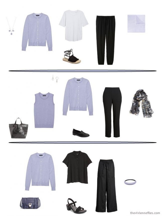 3 outfits including a lavender cardigan from a capsule wardrobe