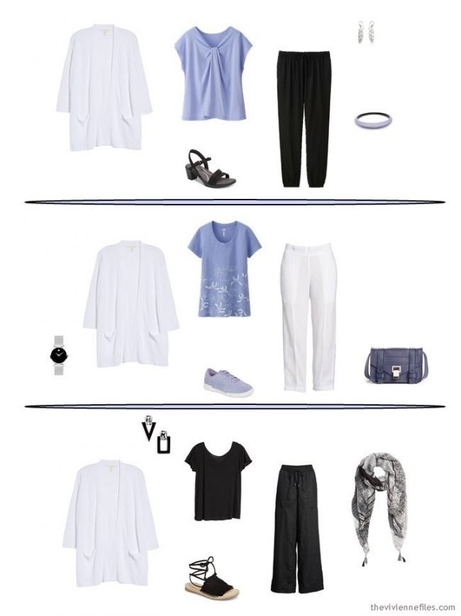 3 outfits including a white cardigan from a capsule wardrobe