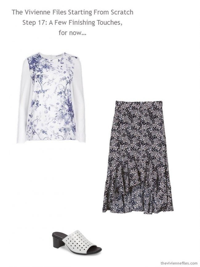 adding a print top, print skirt and sandals to a Starting from Scratch Wardrobe