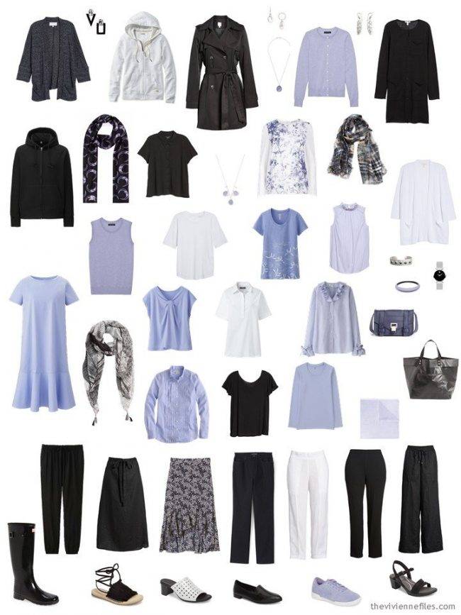 Final capsule wardrobe in black, white and lavender