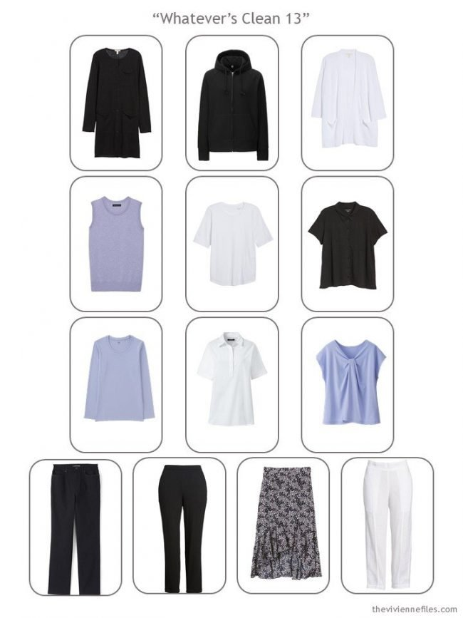 Whatever's Clean 13 wardrobe in black, white and lavender