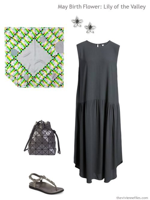 grey dress with green and grey accessories