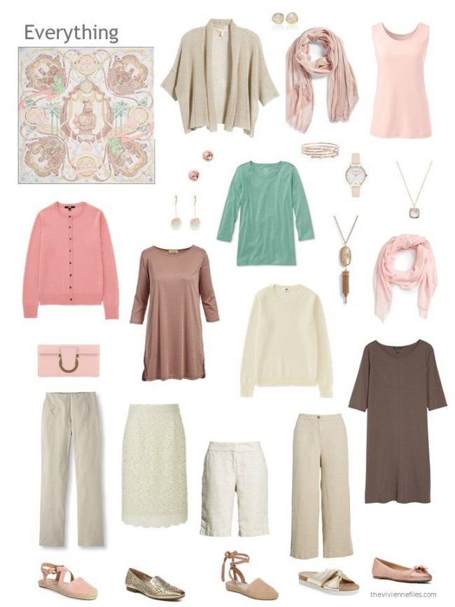 capsule wardrobe in beige with blush and green, based on Hermes Horsawards