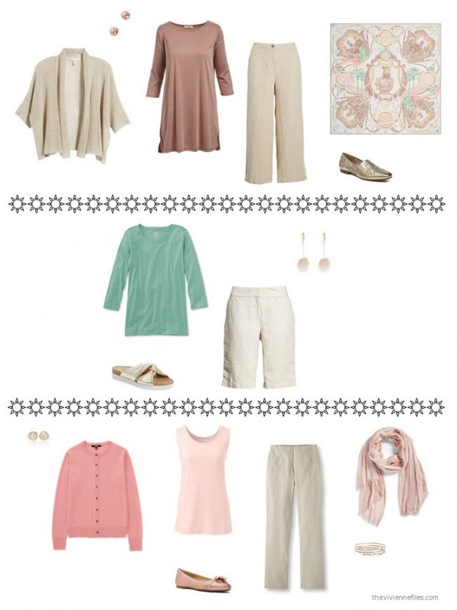 3 outfits from a beige, blush and green capsule wardrobe