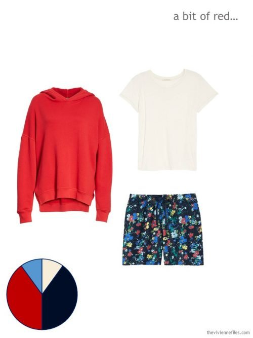 A bright summer outfit, with a red sweatshirt