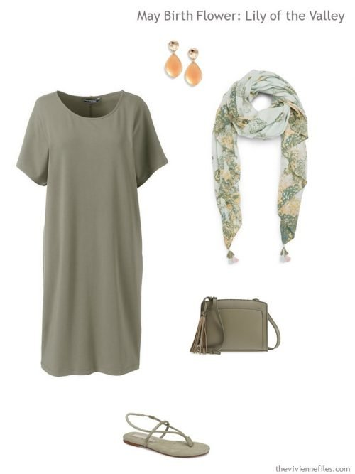moss green dress with floral accessories