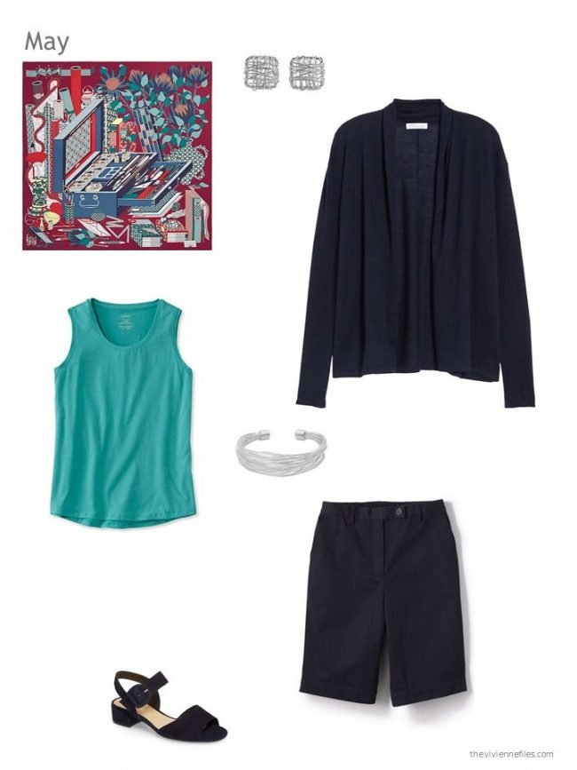 summer outfit in navy and teal