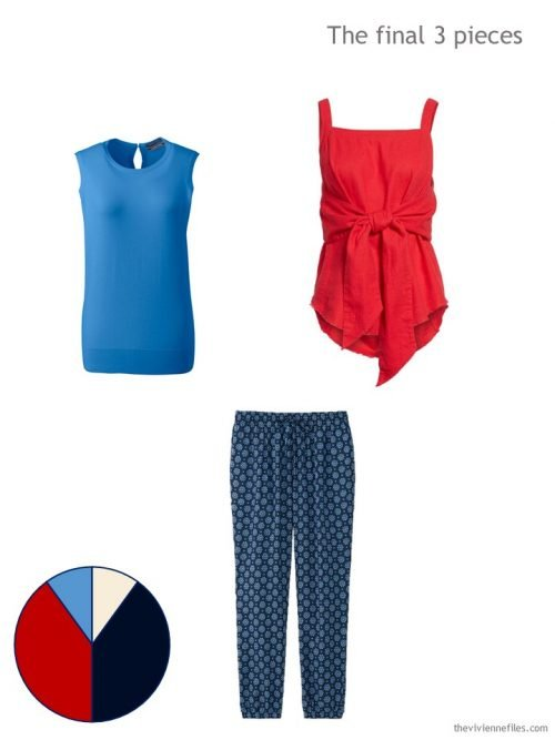 3 pieces for summer in bright red and blue