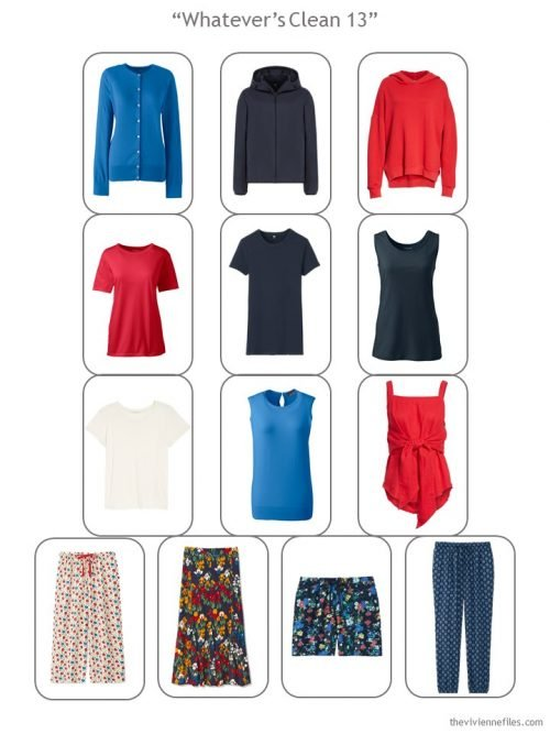 """A """"Whatever's Clean 13"""" wardrobe for warm weather, in brights, with printed pants, skirt and shorts"""