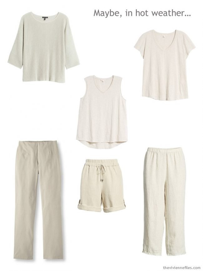 1. Six-piece beige wardrobe for warm weather