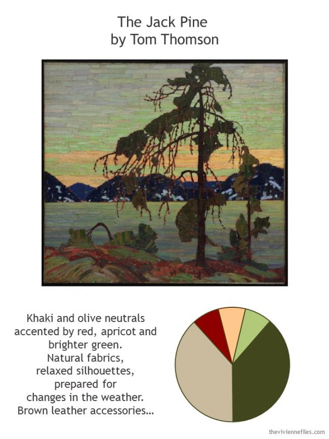 1. The Jack Pine by Tom Thomson with style guidelines and color palette