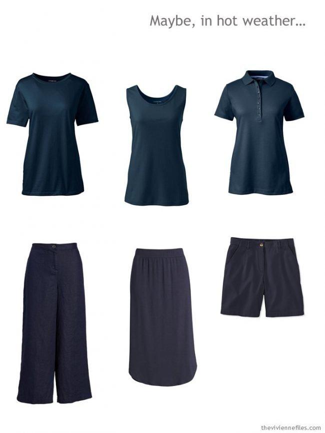 1. warm-weather wardrobe core in navy