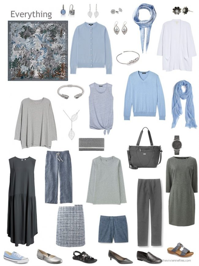 10. 12-piece capsule wardrobe in grey and shades of blue