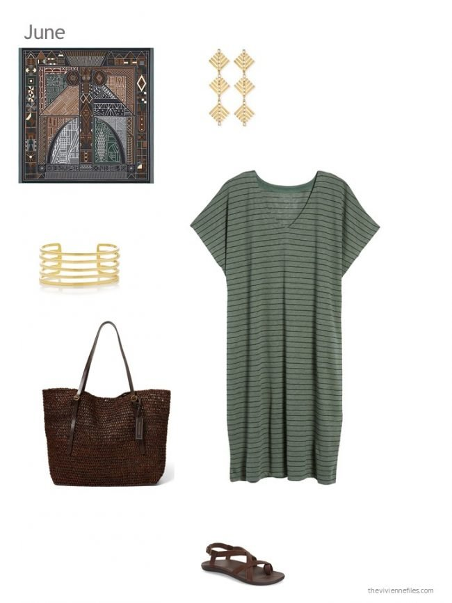 11. adding an olive striped dress to a capsule wardrobe