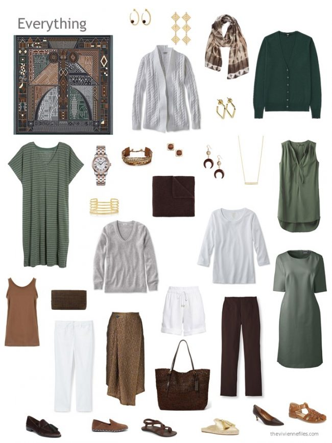 12. 12-piece capsule wardrobe in green, brown, grey and white