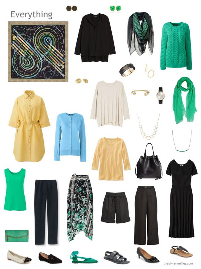 12-piece capsule wardrobe in black, yellow, green and blue