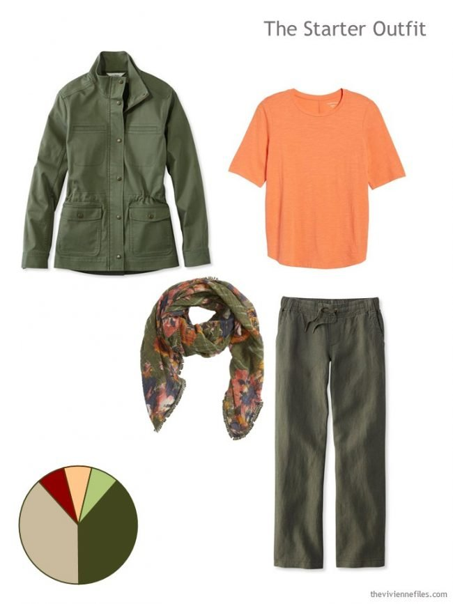2. capsule wardrobe starter outfit in olive and orange