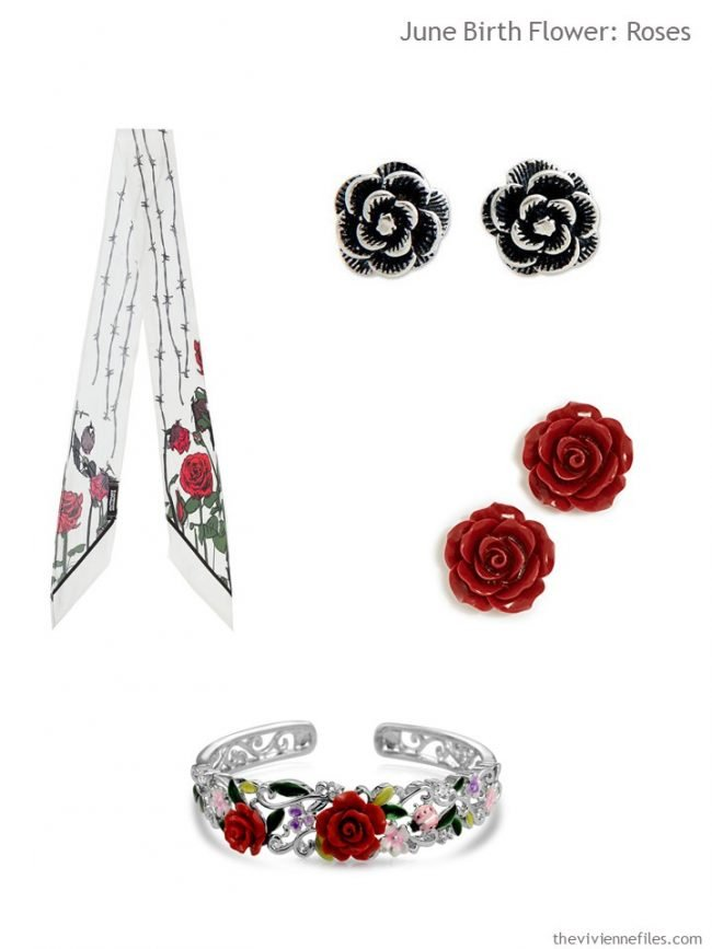 2. scarf and jewelry with roses