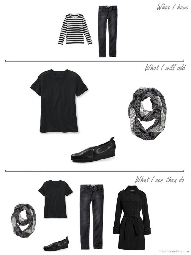3. Adding a black tee shirt, scarf and shoes to a travel capsule wardrobe