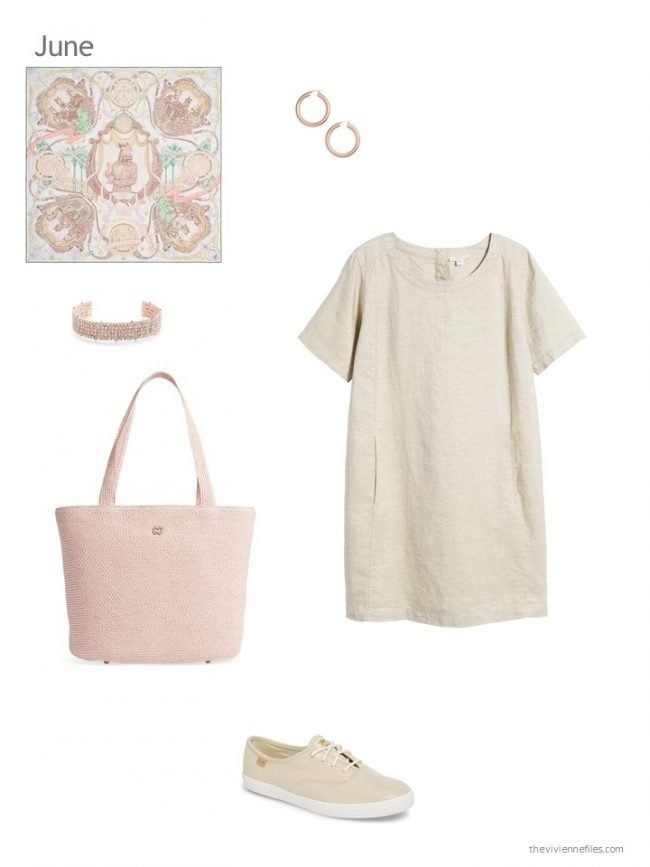 adding a beige linen dress to a capsule wardrobe
