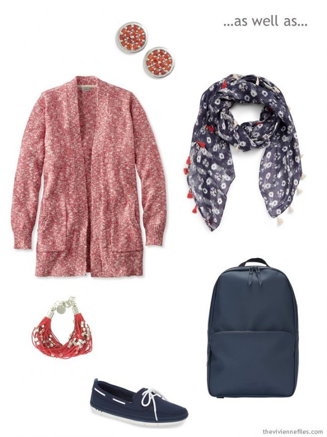 3. coral and navy accessory cluster