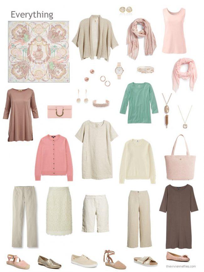 12-piece capsule wardrobe in beige, brown, rose and green