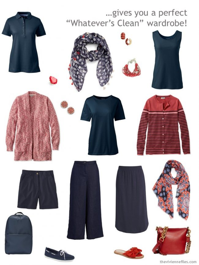 4. Whatever's Clean travel capsule wardrobe in navy, coral and white