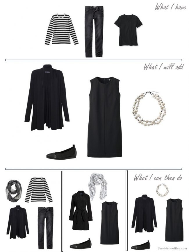 4. adding a cardigan, dress, shoes and necklace to a travel capsule wardrobe