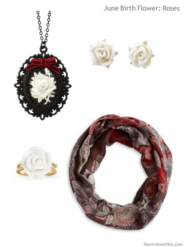 4. black with white roses accessory family