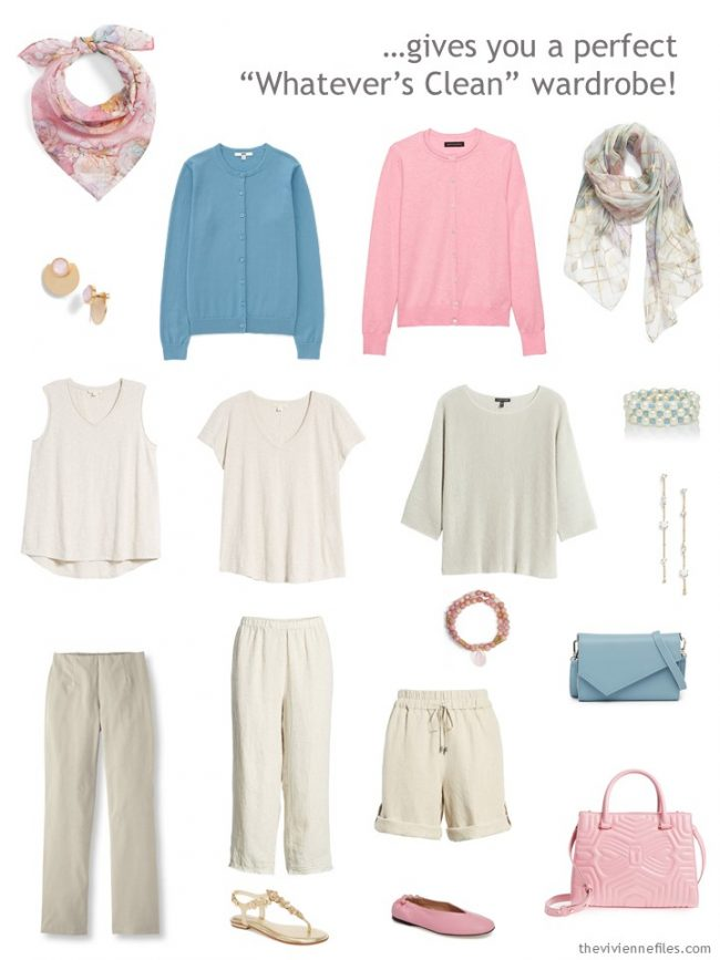 4. capsule wardrobe in beige with muted pastel accents