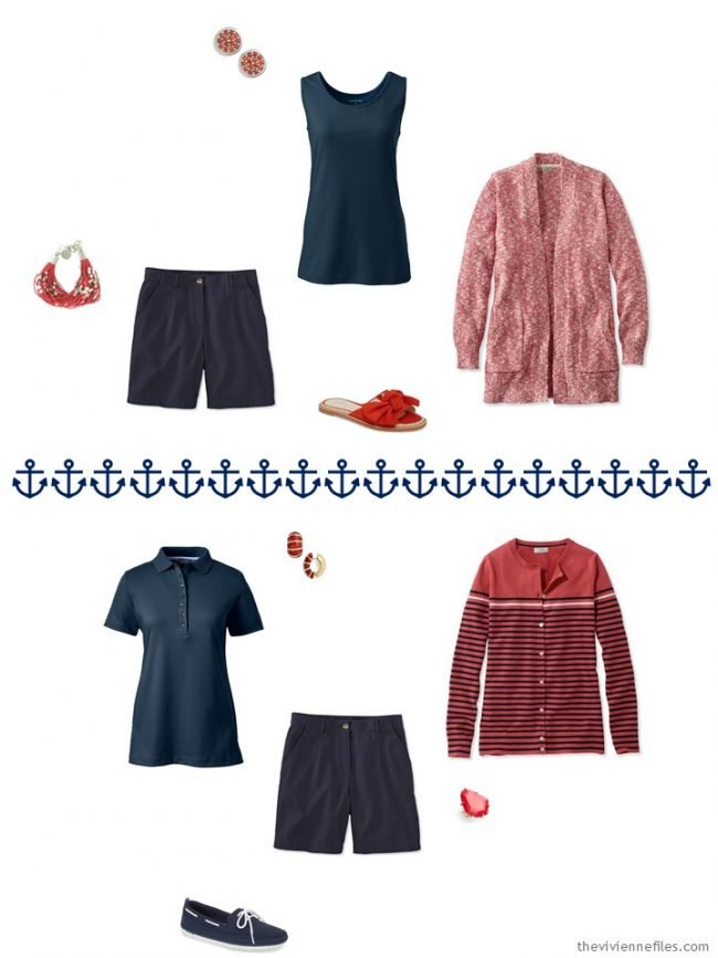 5. 2 outfits wearing navy shorts from a capsule wardrobe in navy, coral and white