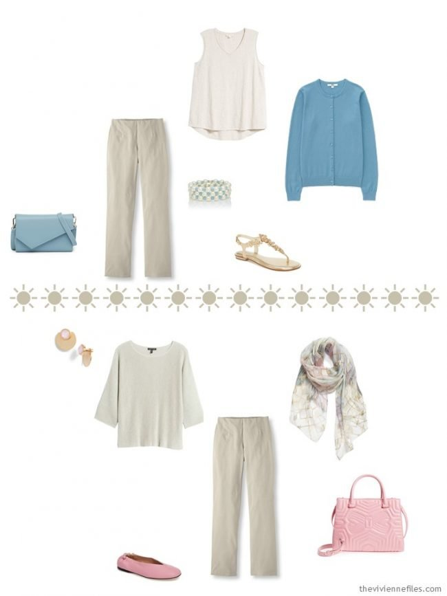 5. 2 outfits with khaki pants and muted pastel accents