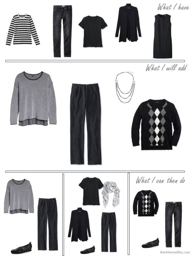 5. adding 2 sweaters, a pair of trousers and a necklace to a travel capsule wardrobe