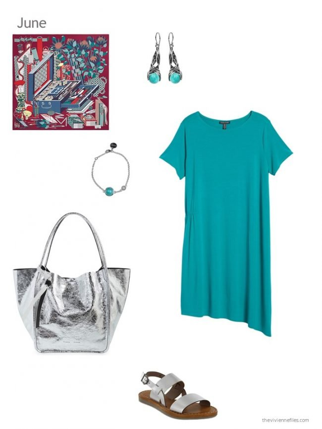 adding a teal dress to a capsule wardrobe
