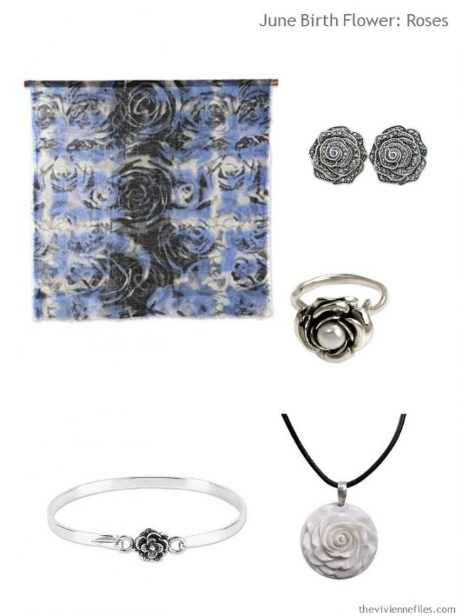5. blue roses scarf with jewelry