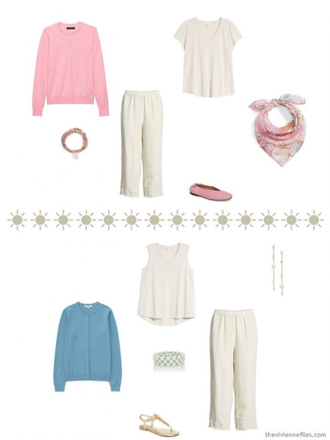 6. 2 outfits with khaki capris and muted pastel accents