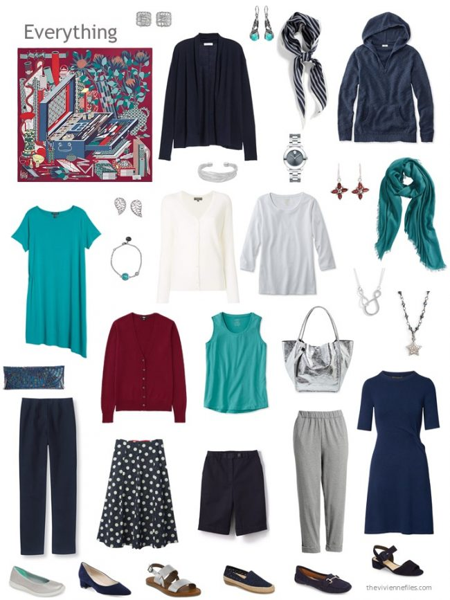 a 12-piece capsule wardrobe in navy, grey, teal and burgundy
