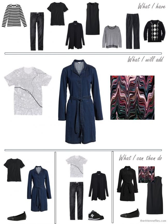 6. adding a graphic print tee, shirtdress and scarf to a travel capsule wardrobe