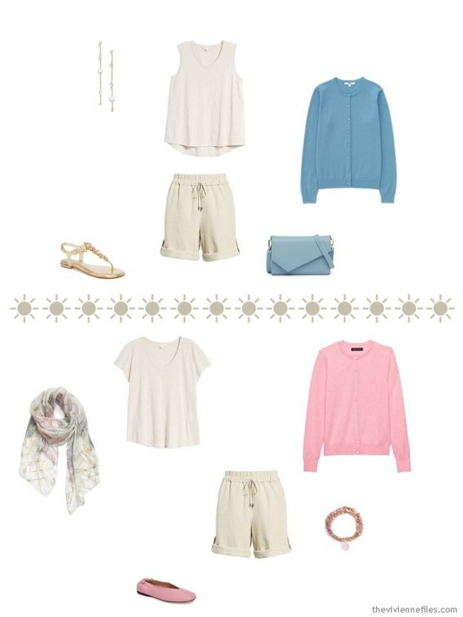 7. 2 outfits with khaki shorts and muted pastel accents